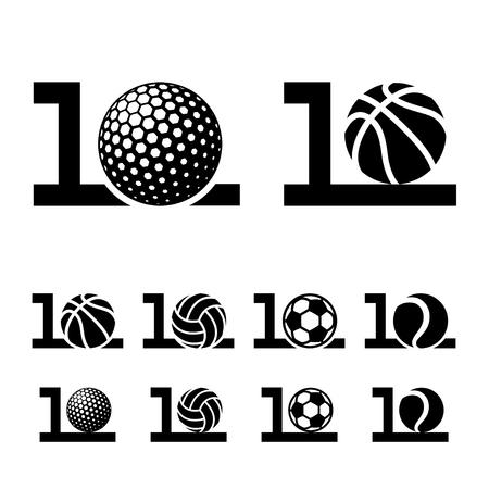 10 years sport ball anniversary vector.