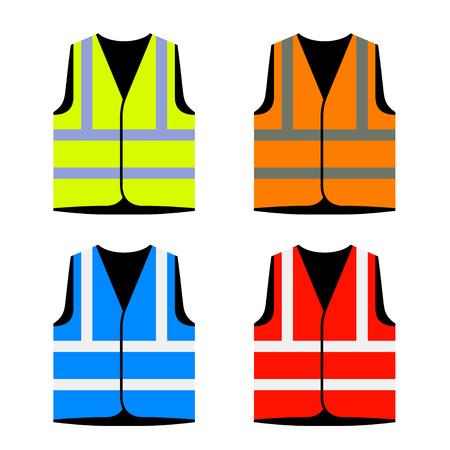 Reflective road industry safety vest vector. Ilustração