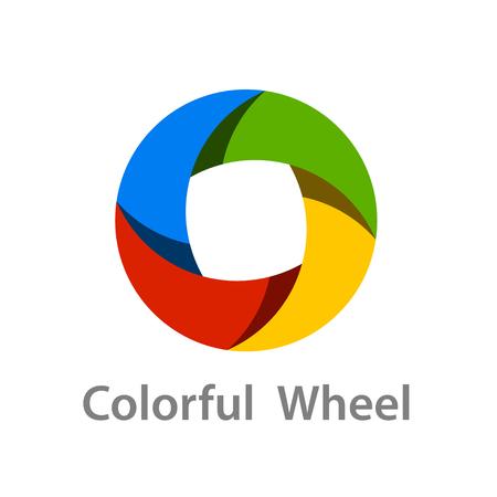 Abstract colorful wheel logo icon design vector.
