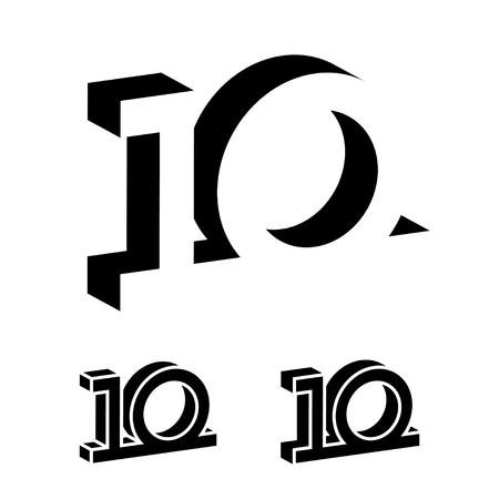 3d black 10 years number vector.