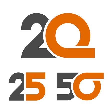 25th: 20 25 50 anniversary number vector Illustration