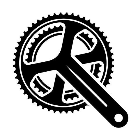 Vector bicycle cogwheel sprocket crankset symbol Stock Illustratie