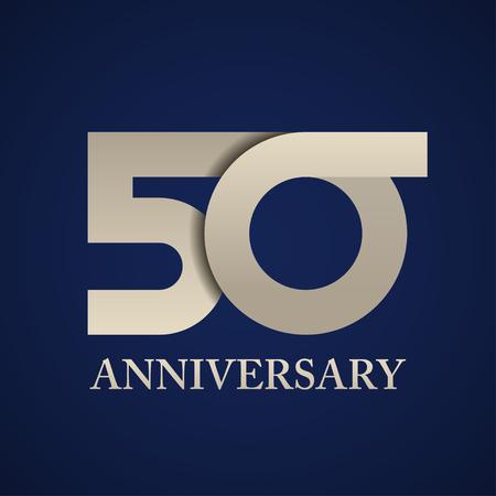 50 years anniversary paper number vector Ilustração