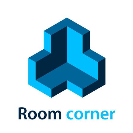 3D isometric room corner blue symbol vector
