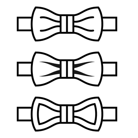 Vector bow tie black line symbols Ilustração
