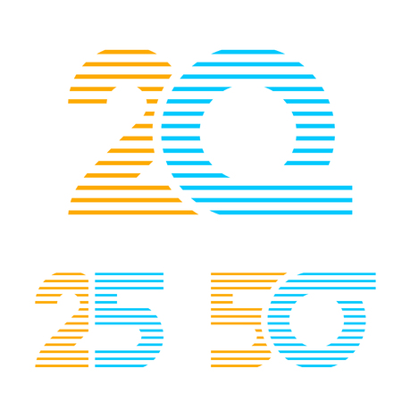 20 25 50 anniversary line number vector Ilustração