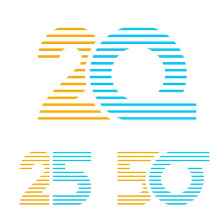 20 25 50 anniversary line number vector Illustration