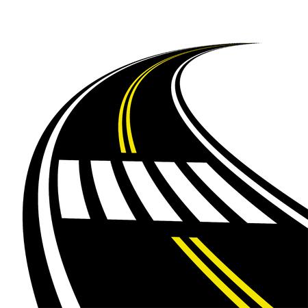 3D crosswalk on the road perspective vector