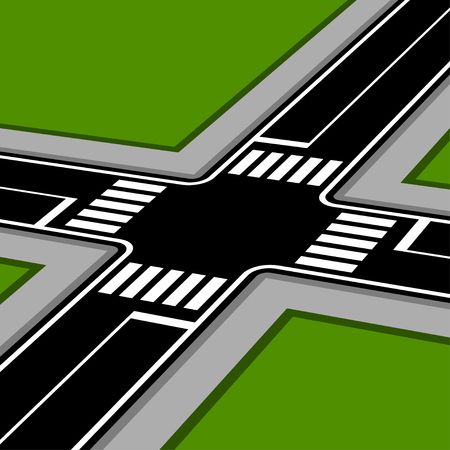 the roadside: 3D pespective crossroad with crosswalks vector
