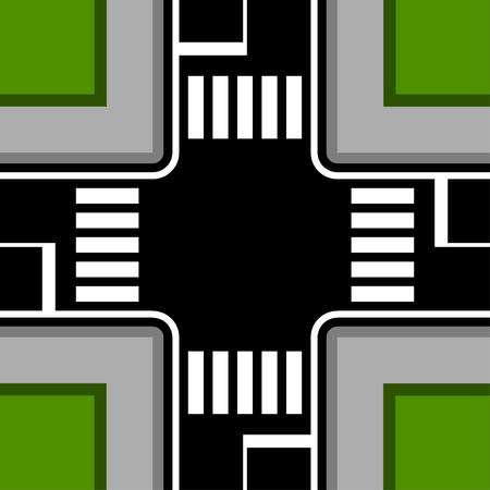 Urban crossroad with crosswalks vector Ilustração