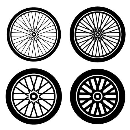 Bike wheels black silhouette vector