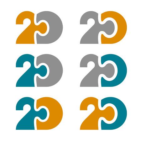20 twenty puzzle linked number vector illustration.