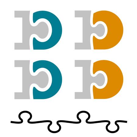 10 ten puzzle linked number letter D vector illustration.