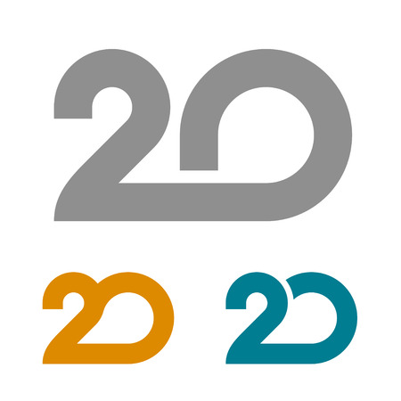 20 linked anniversary number vector illustration.