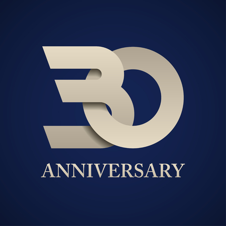 30 years anniversary paper number vector illustration.