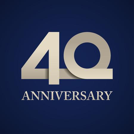 40 jaar verjaardag papiernummer vector illustratie. Vector Illustratie