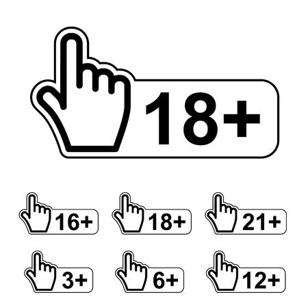 age limit notice warning hand gesture symbol vector