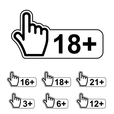age limit notice warning hand gesture symbol vector