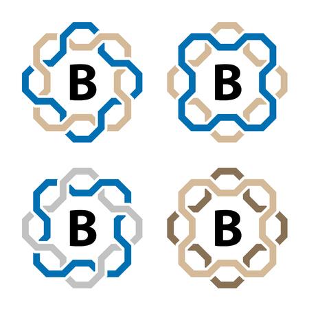 simple line circular frame letter symbol vector