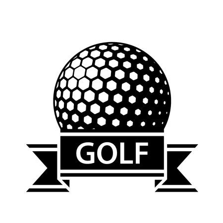 golf ball black ribbon simple symbol vector