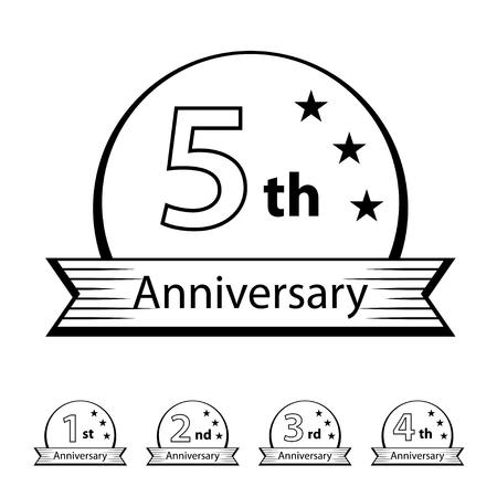 anniversary ribbon number 1 2 3 4 5 vector