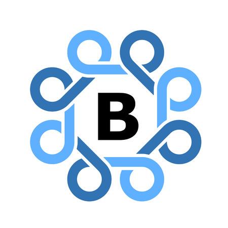 blue simple loops frame symbol vector Ilustração