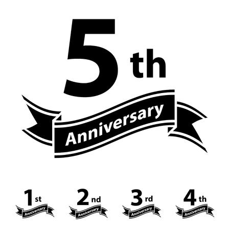 anniversary ribbon number 1 2 3 4 5 vector Banco de Imagens - 85310315