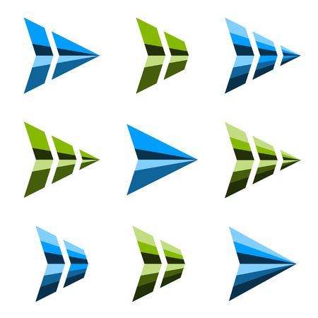 abstract triangular arrow symbol vector