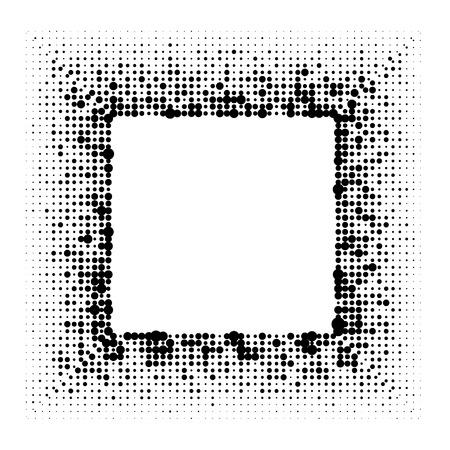 Dotted halftone grunge square black frame