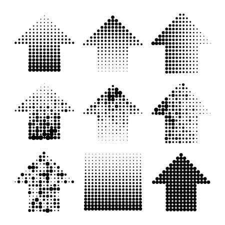 Dotted halftone grunge arrows