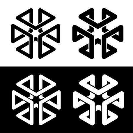 Cube 3d frame black simple shape
