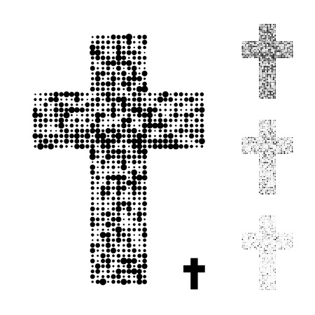 Dotted halftone grunge Christian cross