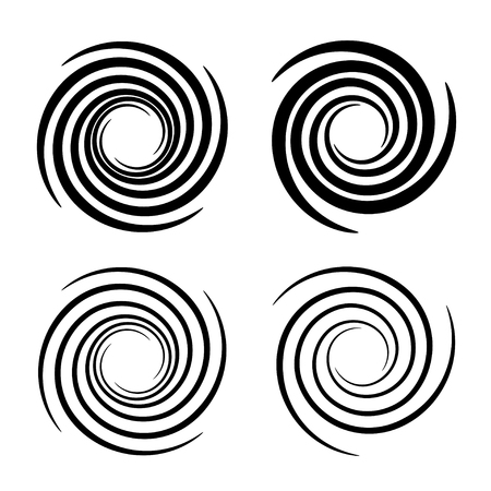 Vortex circular swirl lines black symbol.