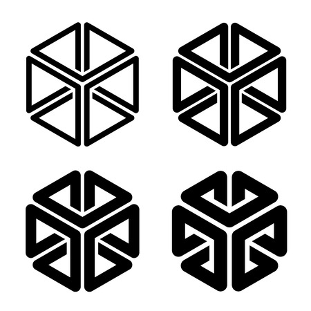 Cube frame black simple shape.