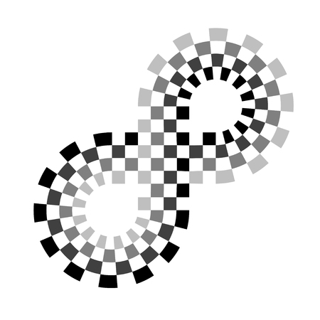 Checkered racing circuit symbol. Illustration