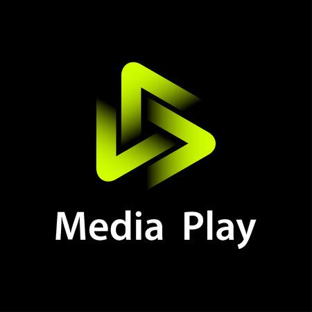 Media play green glowing symbol.