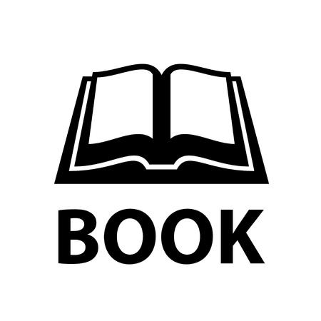 Open book black simple symbol vector.