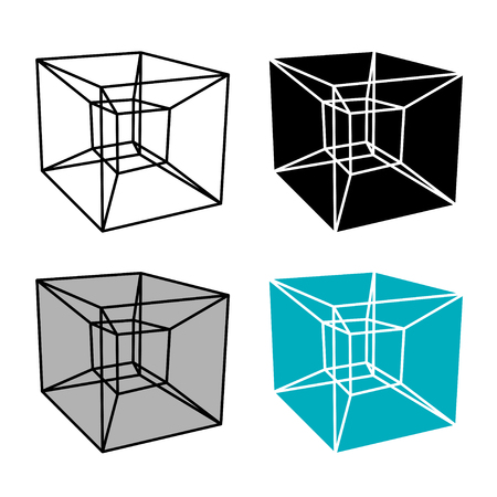 Abstract hyper cube simple symbol.