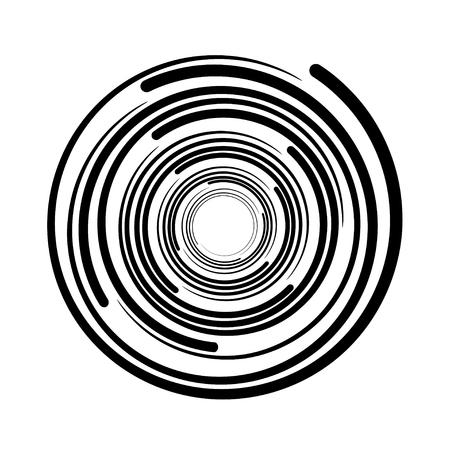 Vortex tourbillon circulaire lignes noir symbole vecteur.
