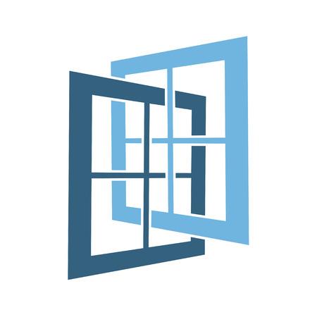 Abstract open window simple symbol vector. Ilustração