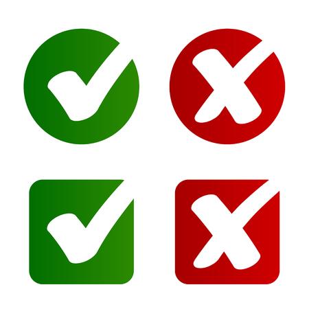 Vettore di simbolo rifiutato approvato segno di spunta - illustrazione
