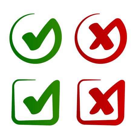 Znacznik wyboru zatwierdzony odrzucony symbol wektor - ilustracja