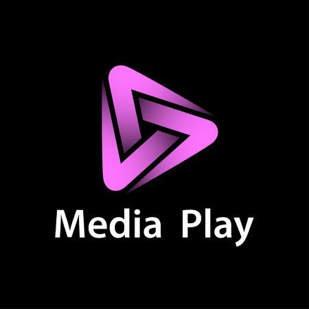 Media play purple glowing symbol vector - illustration