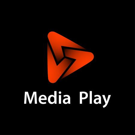 Media play red glowing symbol vector - illustration