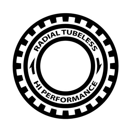 Radial tubeless hi performance tyre symbol vector - illustration Illustration