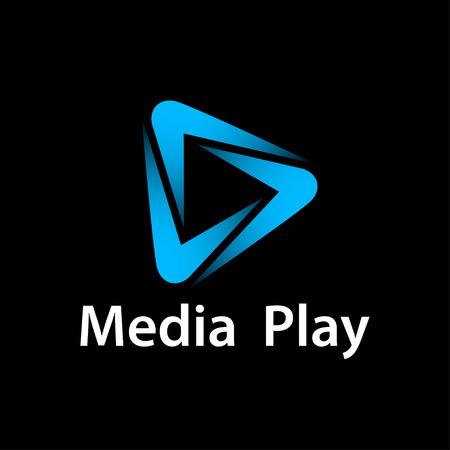 Media play blue glowing symbol vector - illustration