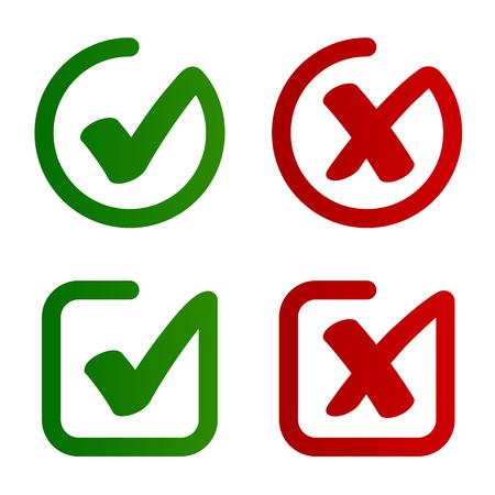 Check mark approved rejected symbol vector - illustration