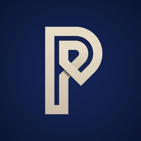 Paper P simple letter symbol vector - illustration Banco de Imagens - 90750038