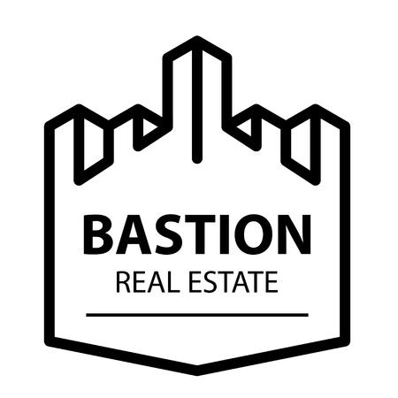 Castle tower bastion symbol vector - illustration