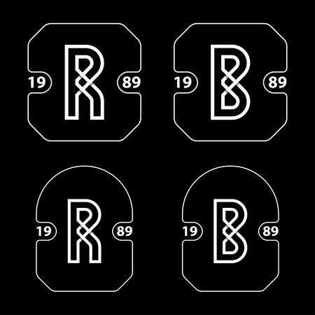 R and B simple letter badge vector - illustration Ilustração